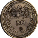 YES NO Open Hands Angel of Death Bronze Coin