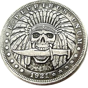 Indian Skull 1921 Morgan Dollar Replica Coin