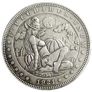 Witch 1921 Halloween Girl Morgan Dollar Replica Coin